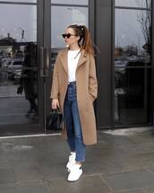 coat,beige coat,white sneakers,high waisted jeans,black bag,ysl bag,straight pants,white sweater
