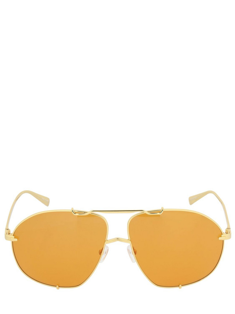 THE ATTICO Mina Oversize Aviator Sunglasses in gold / orange
