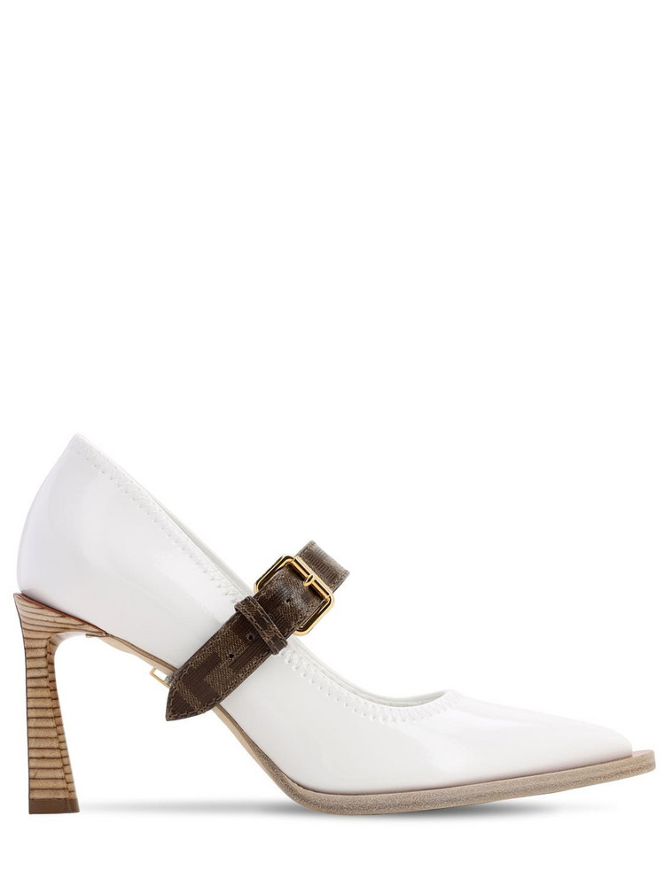 FENDI 85mm Buckled Faux Patent Leather Pumps in white