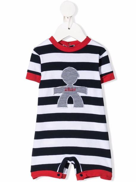 Le Bebé Enfant graphic-print striped romper - Blue