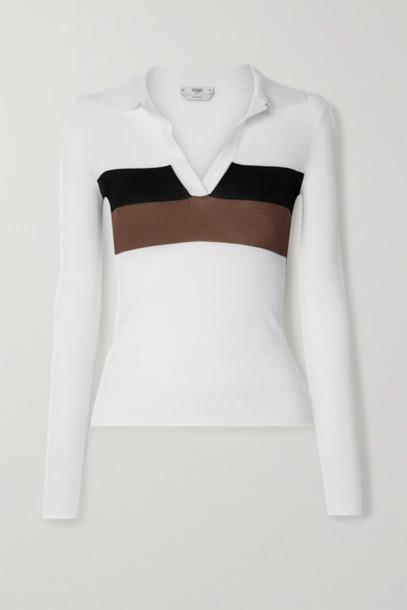 Fendi - Striped Ribbed Silk Polo Shirt - White