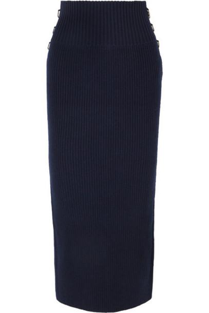 Sacai - Embellished Ribbed Wool Midi Skirt - Navy