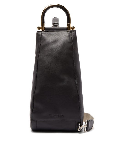 Jw Anderson - Wedge Leather Shoulder Bag - Womens - Black