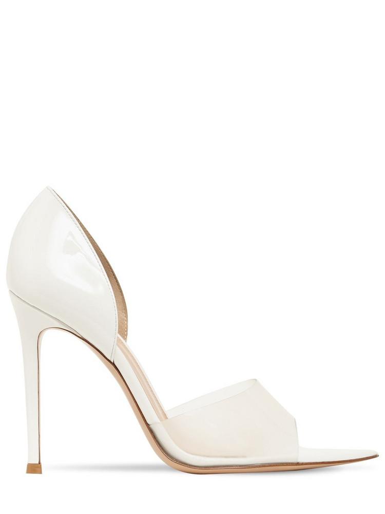 GIANVITO ROSSI 105mm Bree Patent Leather & Plexi Sandal in white