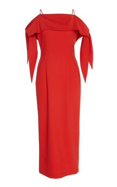 MATÉRIEL Tied Off-The-Shoulder Wool-Blend Dress in red