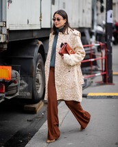 bag,brown bag,chloe bag,wide-leg pants,pumps,trench coat,turtleneck sweater