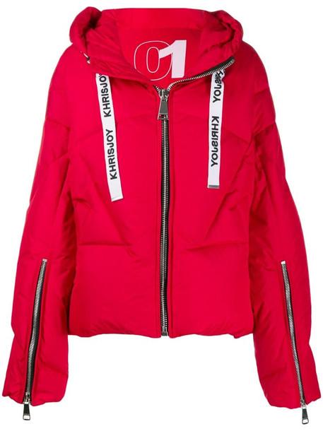 Khrisjoy logo drawstring puffer jacket in red