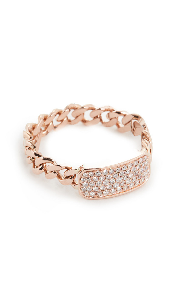 Shay Baby Pave ID Link Ring in gold / rose