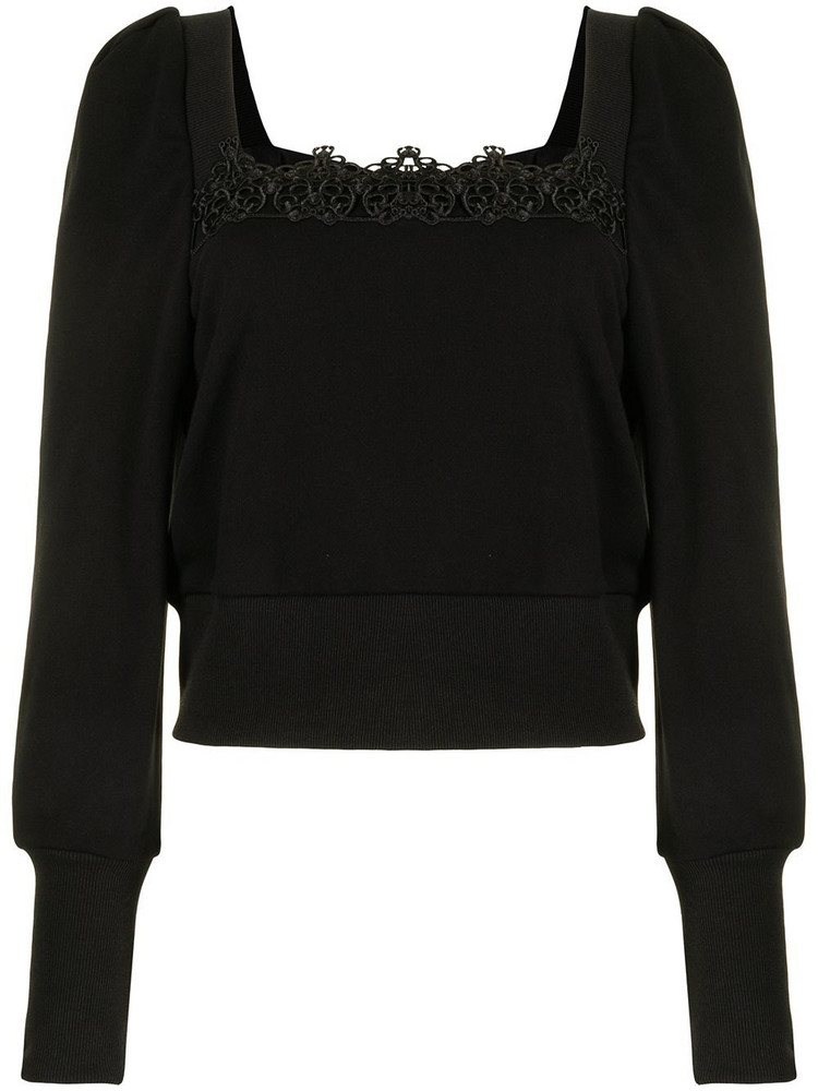 BAPY BY *A BATHING APE® BAPY BY *A BATHING APE® lace-embroidered puff-sleeve top - Black