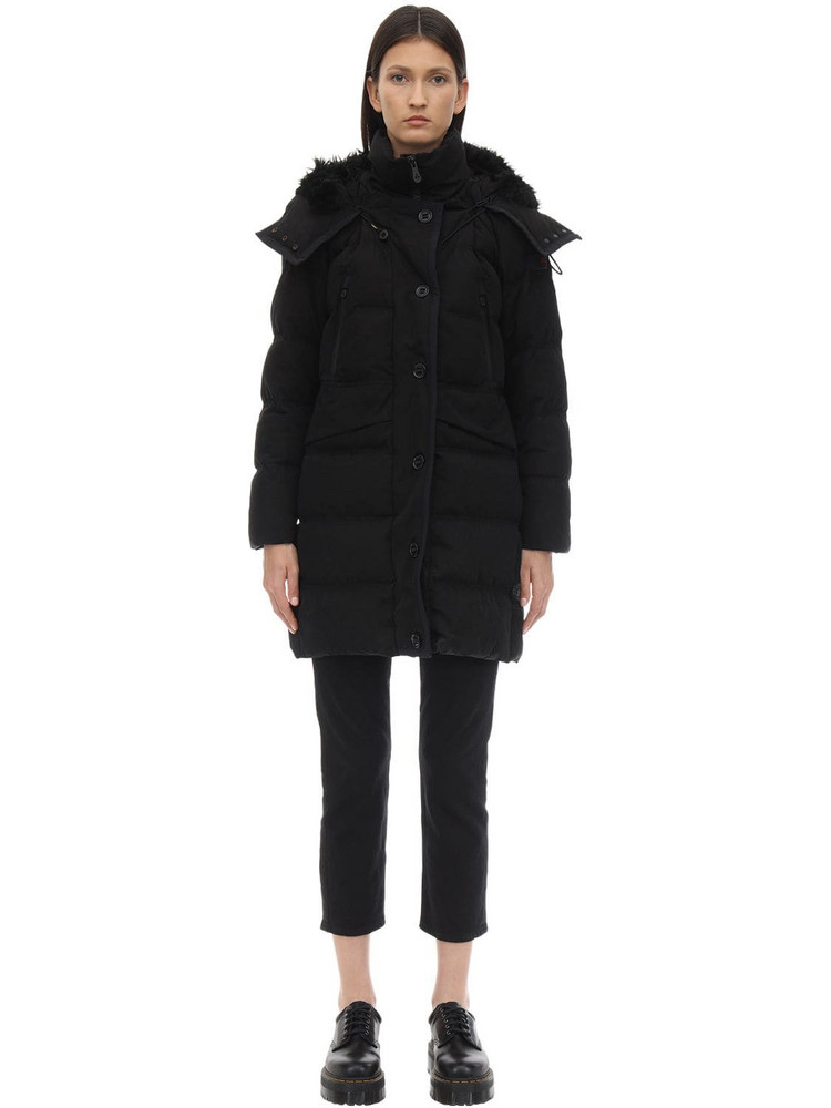 PEUTEREY Guardian Cotton Blend Down Jacket W/fur in black