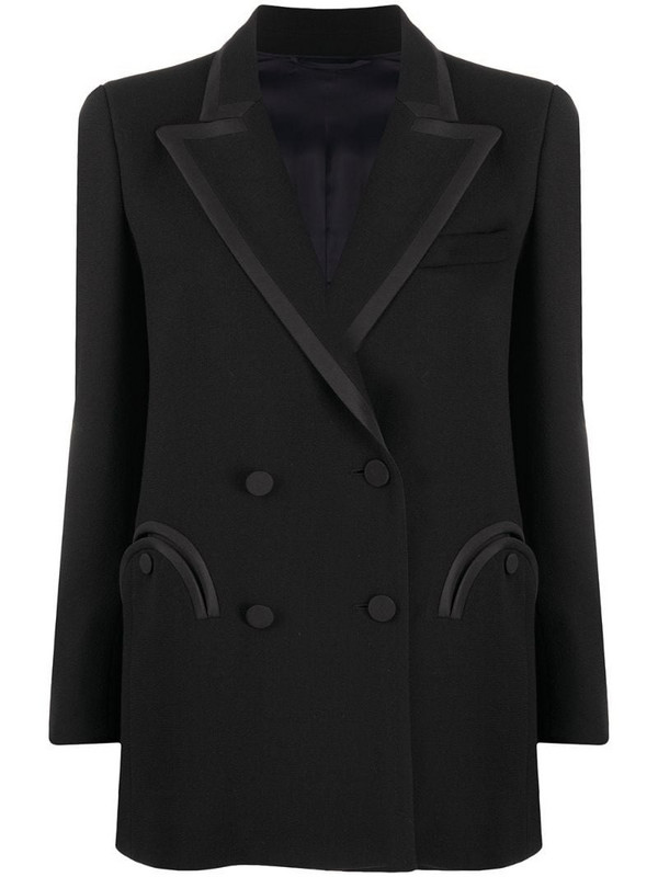 Blazé Milano double-breasted silk blazer in black