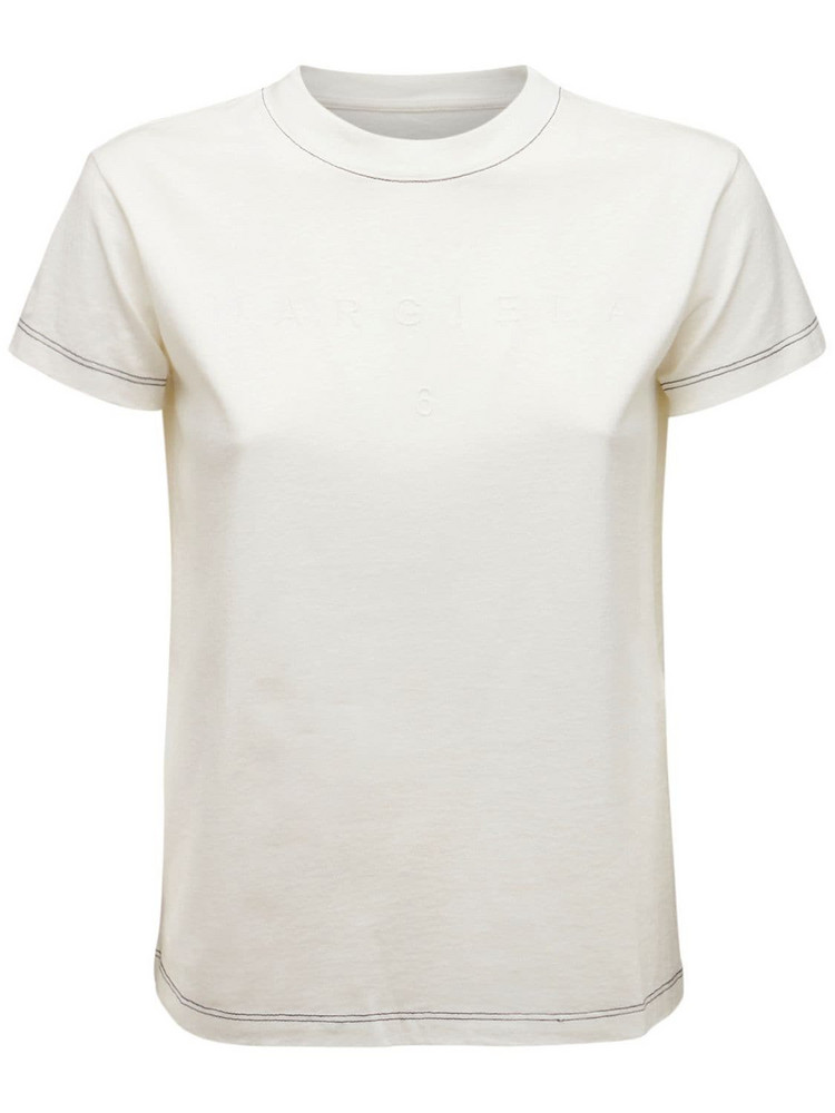 MM6 MAISON MARGIELA Embroidered Logo Cotton Jersey T-shirt in white