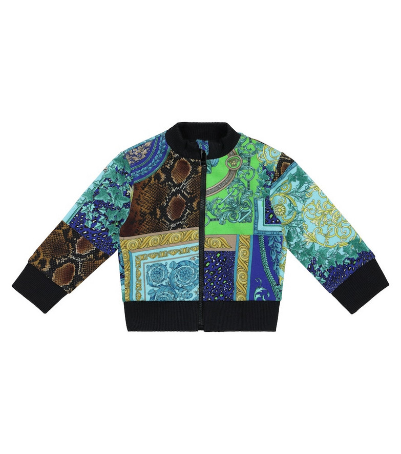 Versace Kids Baby Barocco Patchwork stretch-cotton jacket in blue