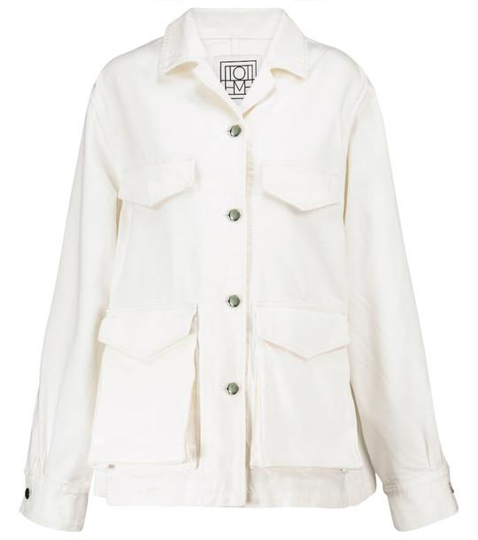 Toteme Denim cargo jacket in white