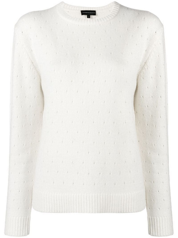 Cashmere In Love cashmere perforated pattern jumper in white