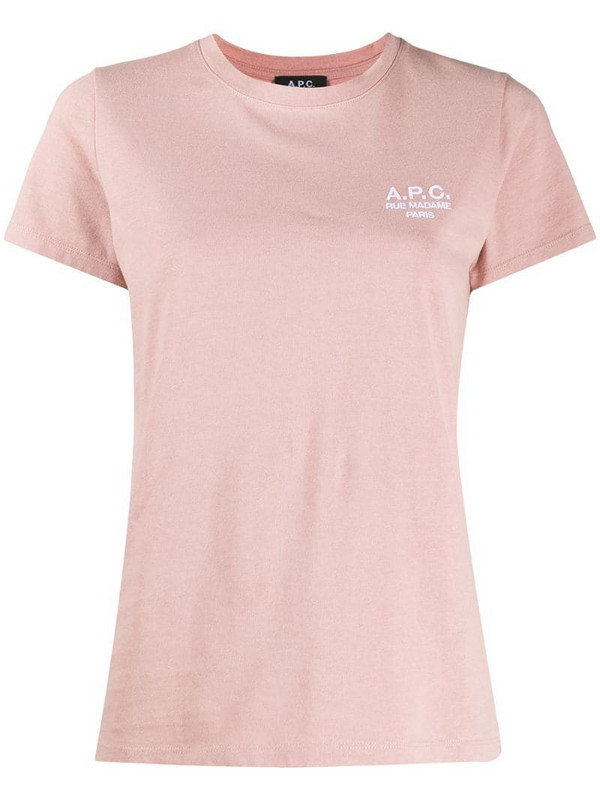 A.P.C. Denise embroidered logo cotton T-shirt in pink