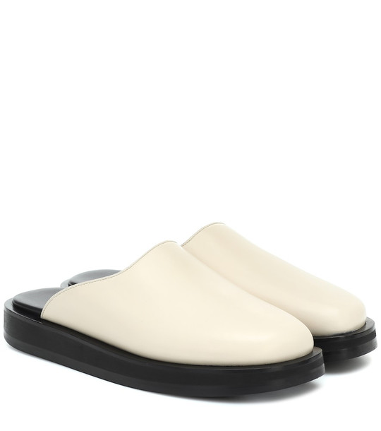 The Row Sabot leather mules in white
