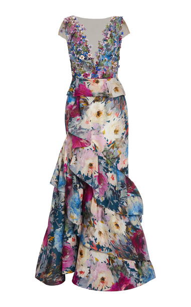 Marchesa Bed-Embellished Organza Gown in multi