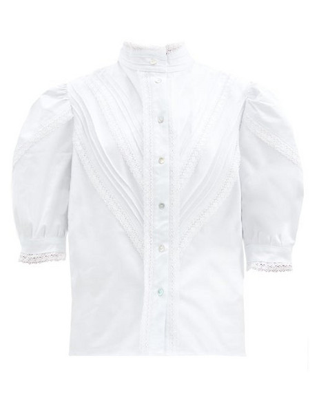 Àcheval Pampa Àcheval Pampa - Yegua Lace-trim Cotton-blend Blouse - Womens - White