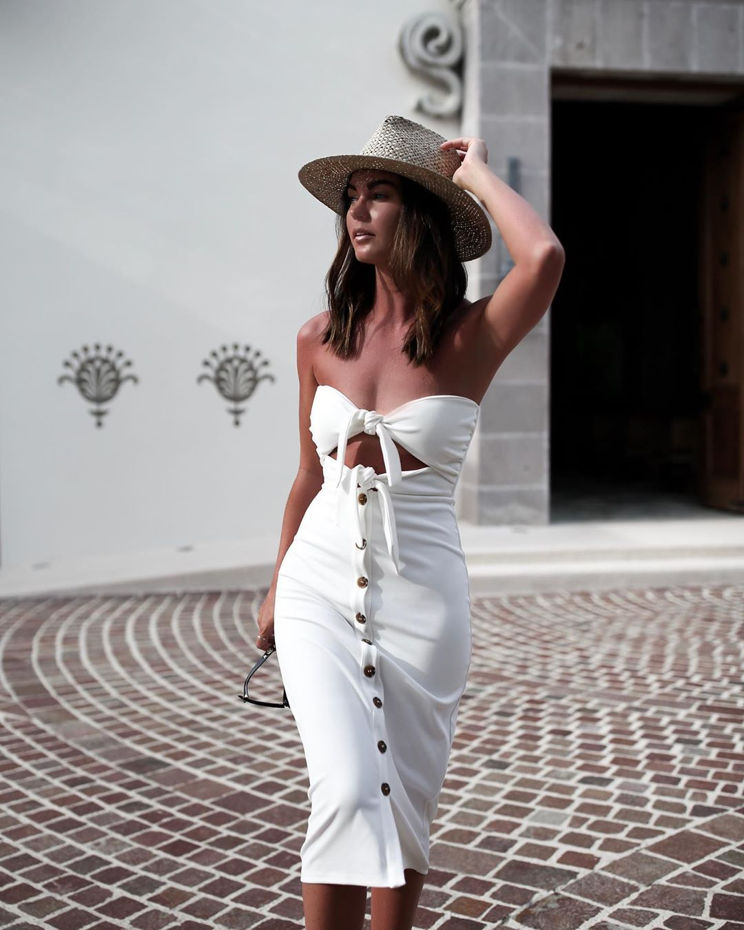 dress white dress midi dress sleeveless dress house of harlow 1960 sun hat