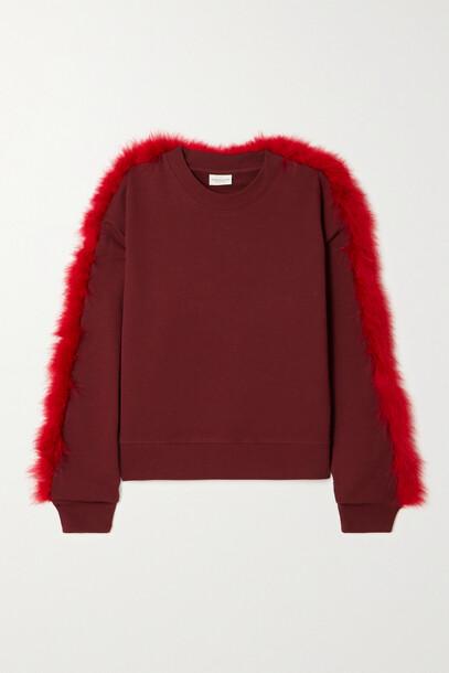 Dries Van Noten - Haffe Feather-trimmed Cotton-jersey Sweatshirt - Burgundy