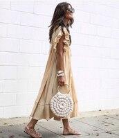 dress,midi dress,ruffle dress,flat sandals,round bag