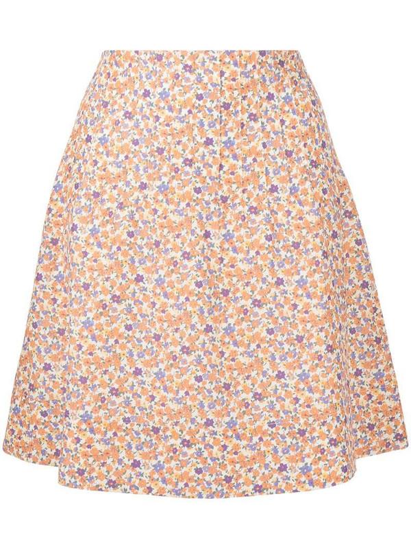 A.P.C. floral print a-line skirt in orange