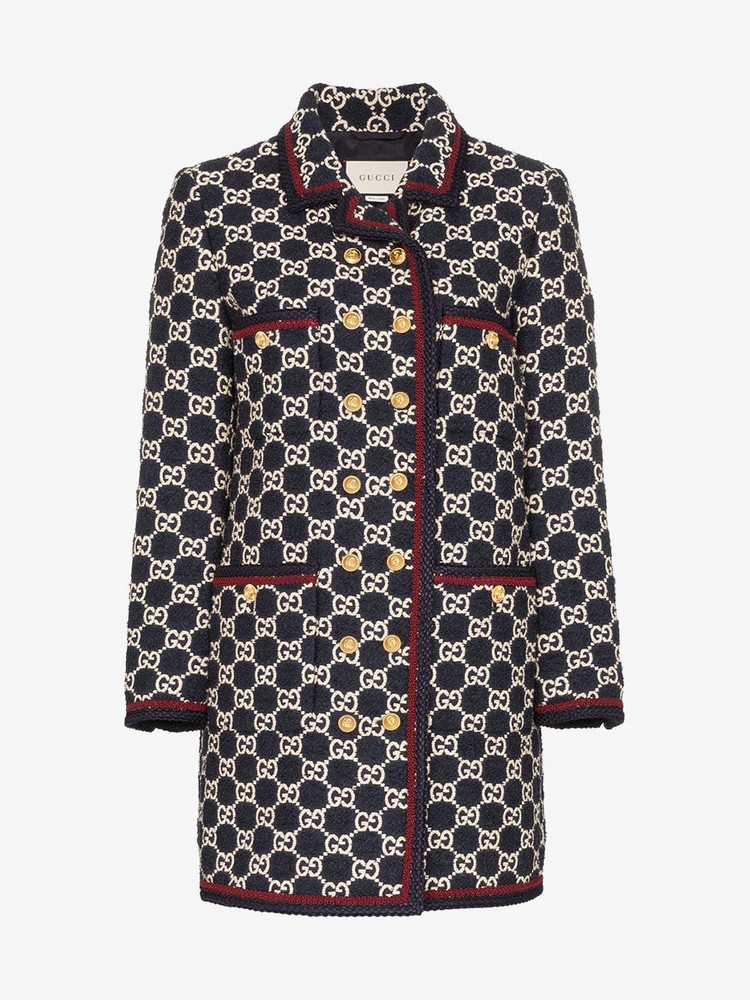 Gucci GG pattern tweed coat in blue