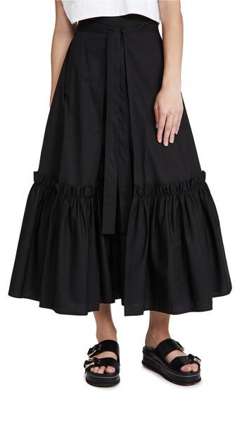 Rosetta Getty Gathered Hem Wrap Skirt in black
