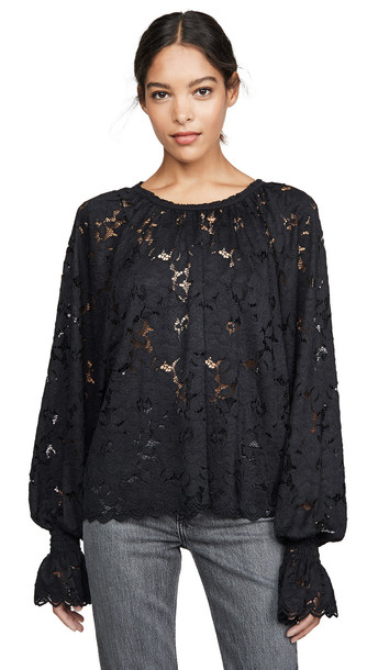 Free People Olivia Lace Top in black