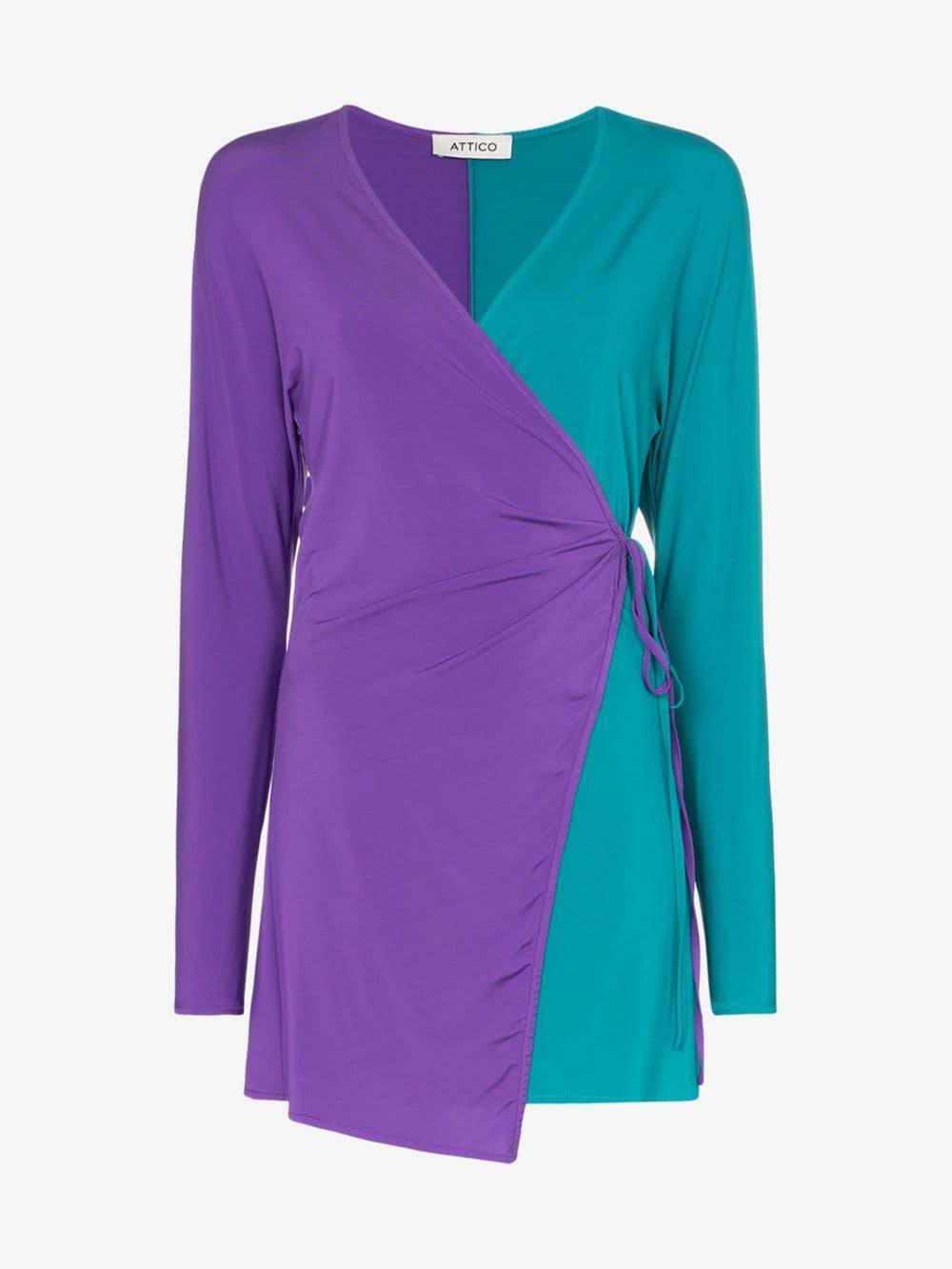 Attico Two-Tone Jersey Wrap Dress in purple