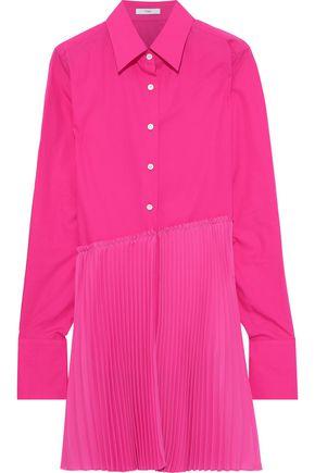 Tome Woman Pleated Crepe-paneled Cotton-poplin Shirt Fuchsia Size 8