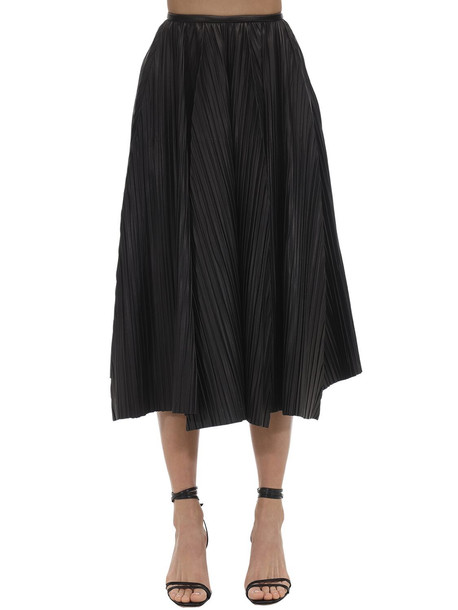 SALVATORE FERRAGAMO Pleated Leather Skirt in black