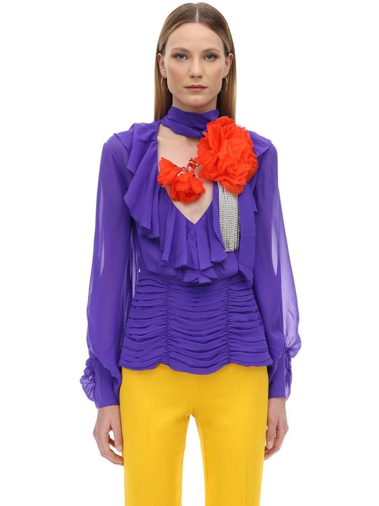 MARIANNA SENCHINA Ruffled Silk Shirt W/ Flower Crystal in violet