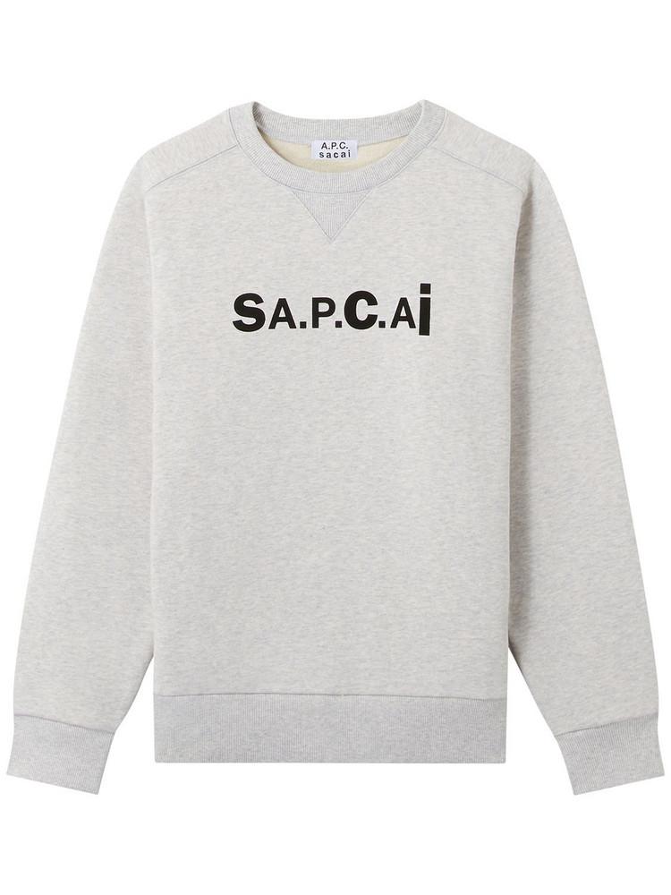 A.P.C. Tani Logo Cotton Sweatshirt in grey