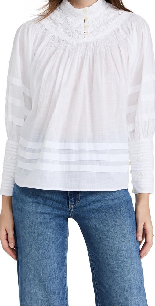 byTiMo Cotton Slub Pleated Blouse in white