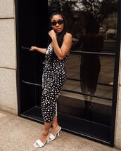 dress,midi dress,black and white,white sandals