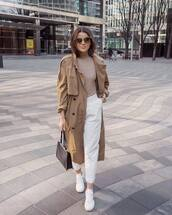 coat,trench coat,double breasted,white sneakers,white pants,pleated,black bag,top