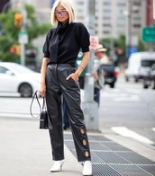 pants,black leather pants,straight pants,self portrait,white boots,ankle boots,heel boots,black bag,black sweater,puffed sleeves