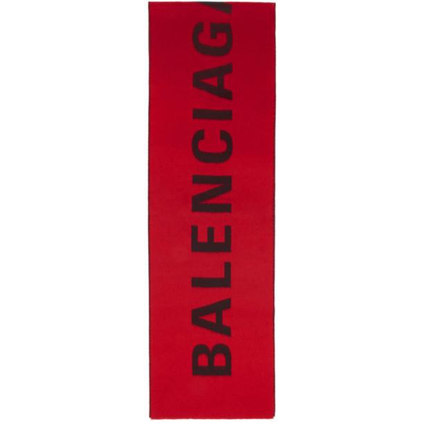 Balenciaga Red & Black Logo Scarf