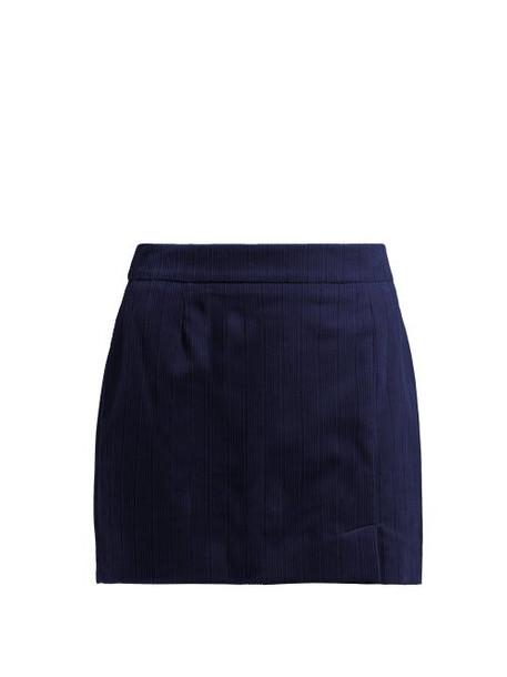 Bella Freud - Alexa Cotton Corduroy Mini Skirt - Womens - Navy
