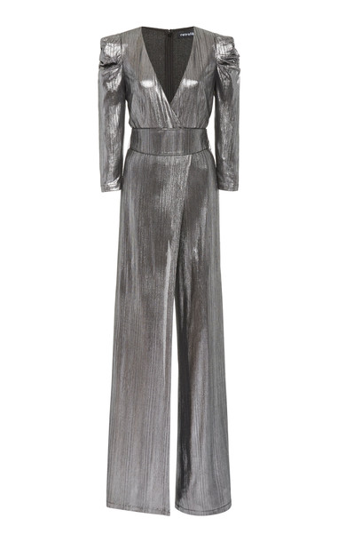 Retrofête Monroe Belted Metallic Lamé Jumpsuit in silver