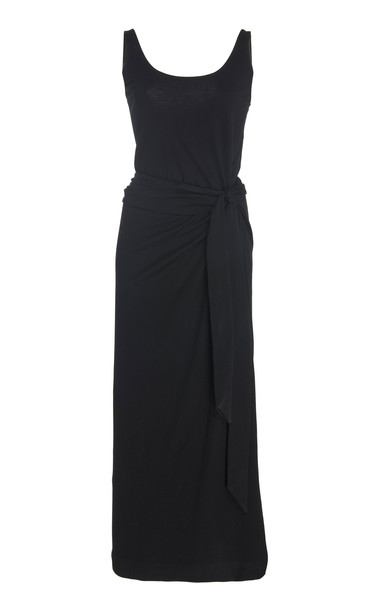 Vince Sleevless Pima Cotton Wrap Dress in black
