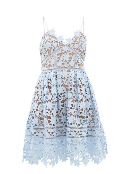 Self-portrait - Azalea Floral Guipure-lace Dress - Womens - Light Blue