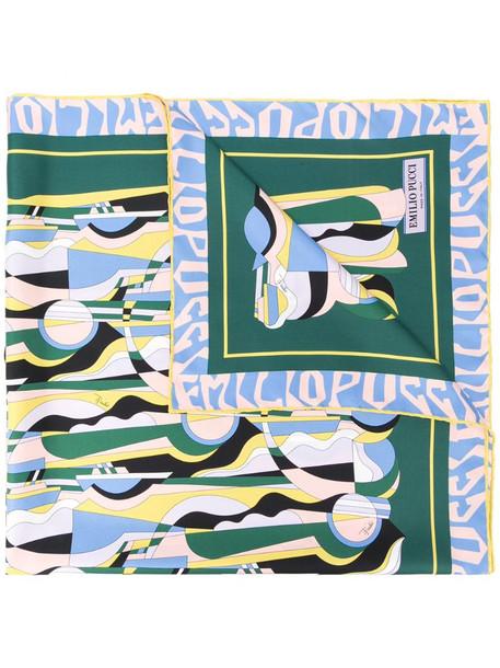 Emilio Pucci graphic-print cashmere scarf in green