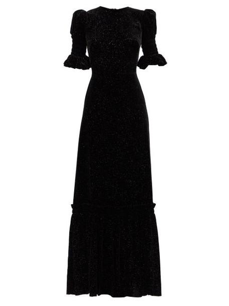 The Vampire's Wife - Night Flight Glitter-velvet Maxi Dress - Womens - Black Gold