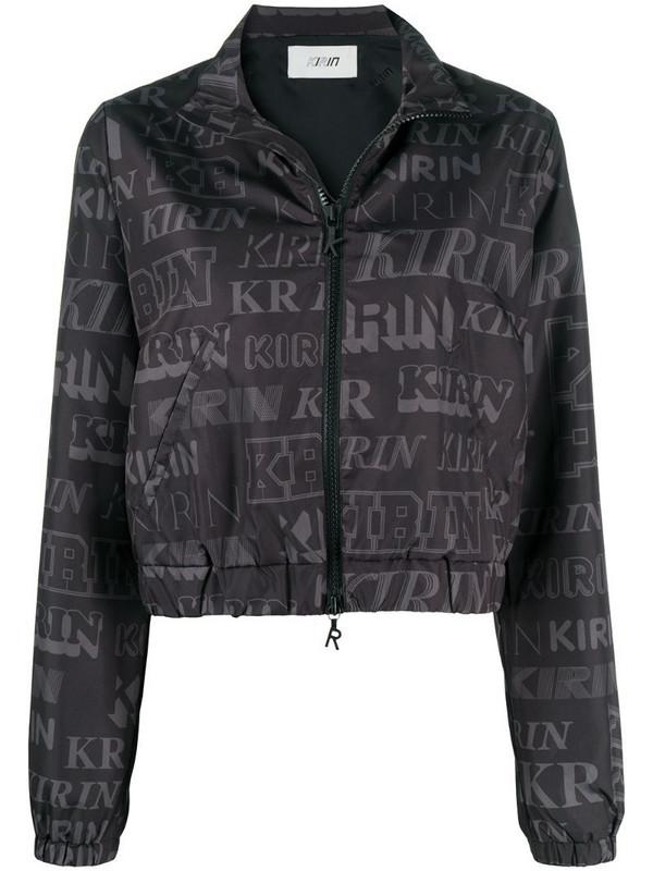 Kirin logo print open-back jacket in black