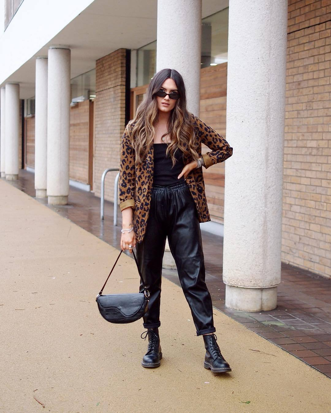 jacket blazer leopard print black boots lace up boots leather pants black bag black top
