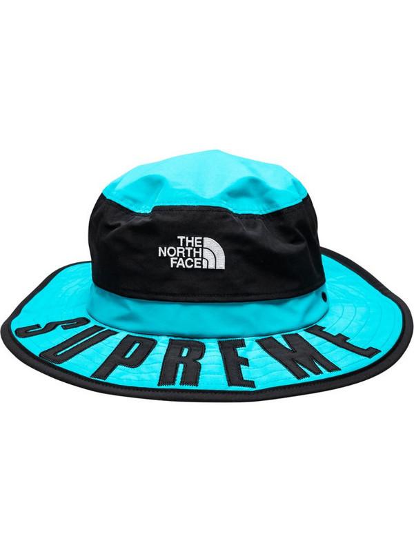 Supreme logo print bucket hat in blue