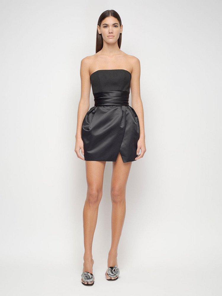 ALEXANDRE VAUTHIER Wool & Satin Bustier Mini Dress in black